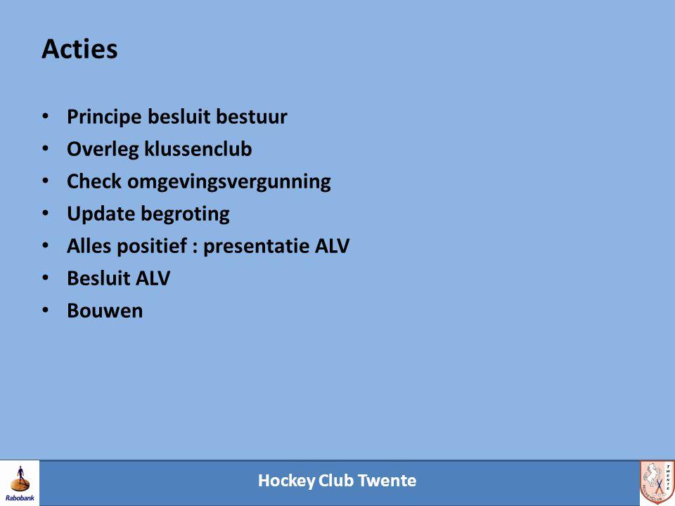 Hockey Club Twente Acties Principe besluit bestuur Overleg klussenclub Check omgevingsvergunning Update begroting Alles positief : presentatie ALV Besluit ALV Bouwen