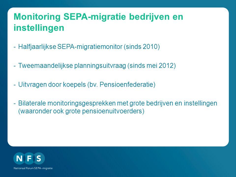 Monitoring SEPA-migratie bedrijven en instellingen -Halfjaarlijkse SEPA-migratiemonitor (sinds 2010) -Tweemaandelijkse planningsuitvraag (sinds mei 2012) -Uitvragen door koepels (bv.
