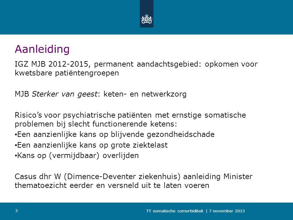 TT somatische comorbiditeit | 7 november 2013 3 Aanleiding IGZ MJB 2012-2015, permanent aandachtsgebied: opkomen voor kwetsbare patiëntengroepen MJB S