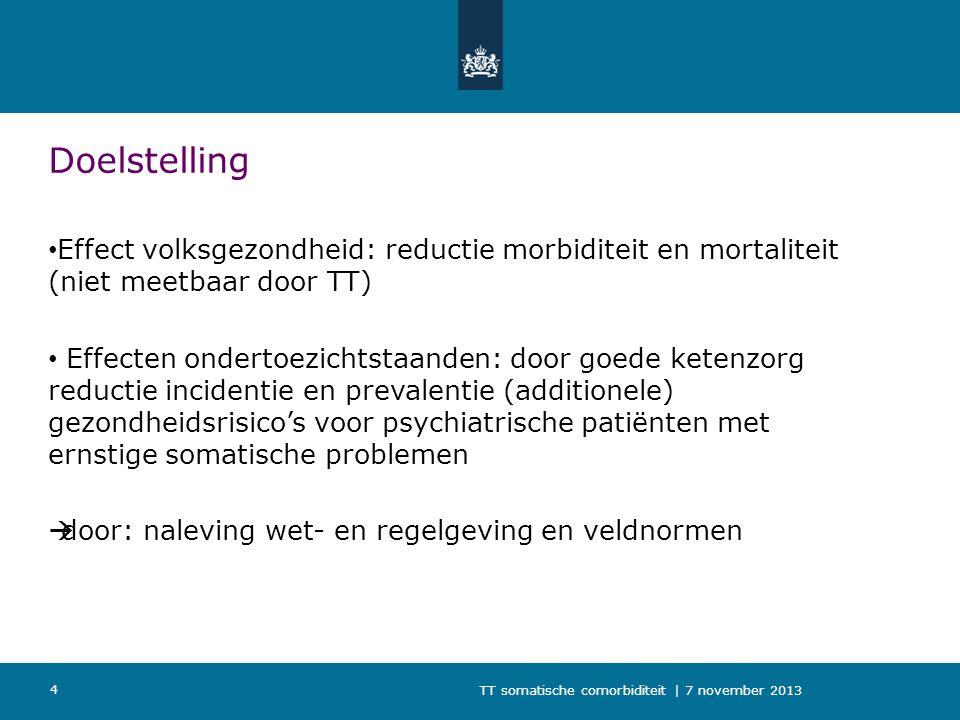 TT somatische comorbiditeit | 7 november 2013 4 Doelstelling Effect volksgezondheid: reductie morbiditeit en mortaliteit (niet meetbaar door TT) Effec