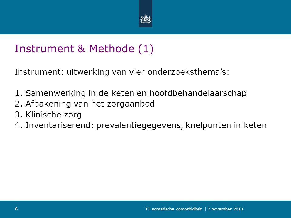 TT somatische comorbiditeit | 7 november 2013 8 Instrument & Methode (1) Instrument: uitwerking van vier onderzoeksthema's: 1.Samenwerking in de keten