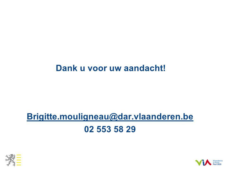 Dank u voor uw aandacht! Brigitte.mouligneau@dar.vlaanderen.be 02 553 58 29 19