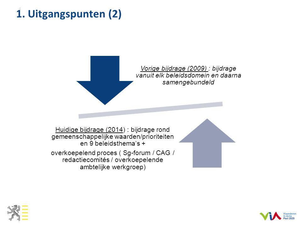 1. Uitgangspunten (2) 4 Vorige bijdrage (2009) : bijdrage vanuit elk beleidsdomein en daarna samengebundeld Huidige bijdrage (2014) : bijdrage rond ge