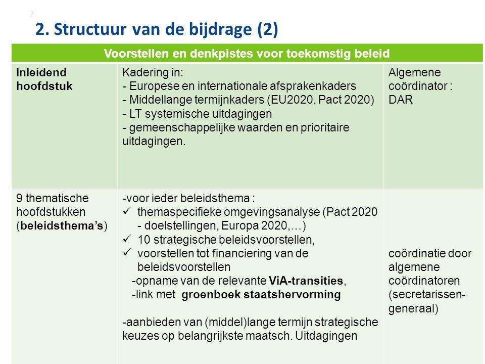2. Structuur van de bijdrage (2) 7 Voorstellen en denkpistes voor toekomstig beleid Inleidend hoofdstuk Kadering in: - Europese en internationale afsp