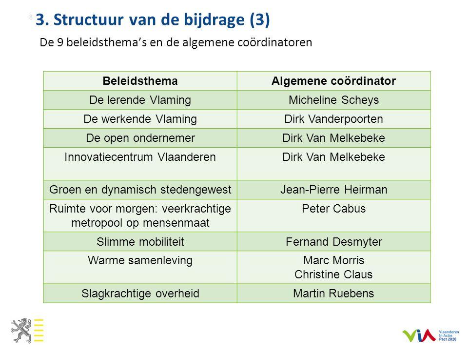 3. Structuur van de bijdrage (3) De 9 beleidsthema's en de algemene coördinatoren 8 BeleidsthemaAlgemene coördinator De lerende VlamingMicheline Schey