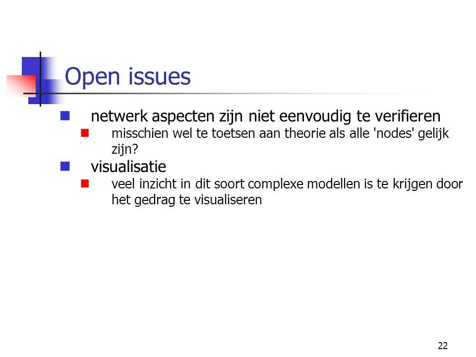 22 Open issues netwerk aspecten zijn niet eenvoudig te verifieren misschien wel te toetsen aan theorie als alle nodes gelijk zijn.