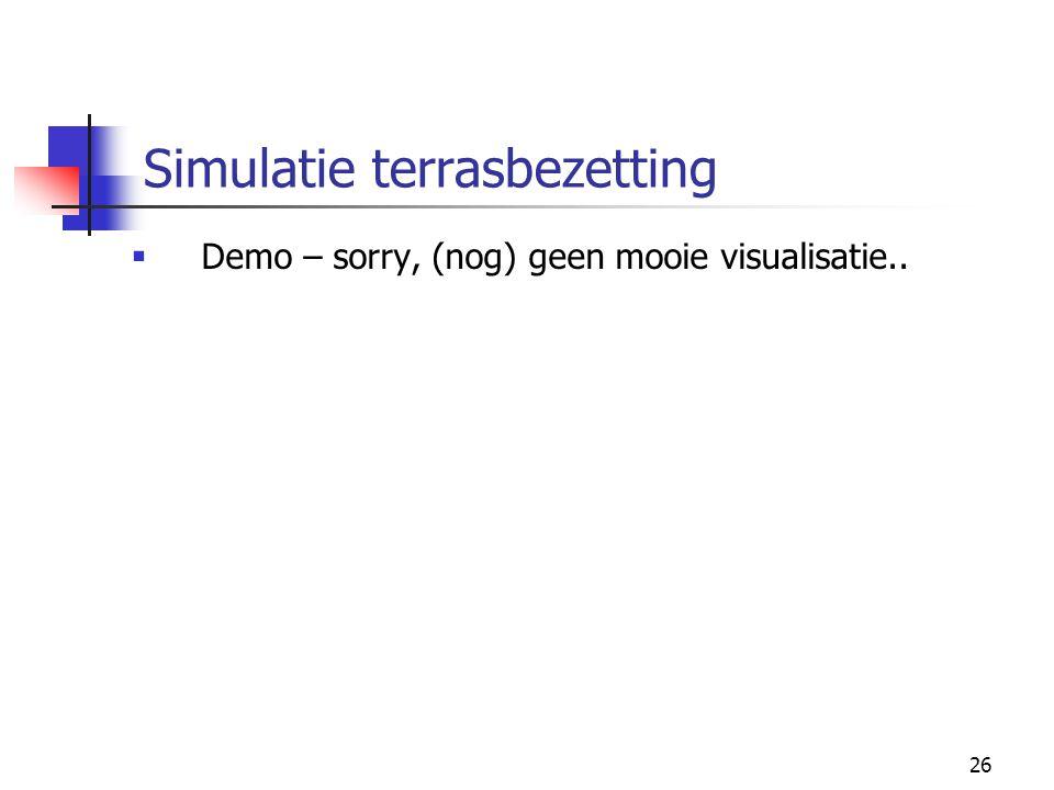 26 Simulatie terrasbezetting  Demo – sorry, (nog) geen mooie visualisatie..