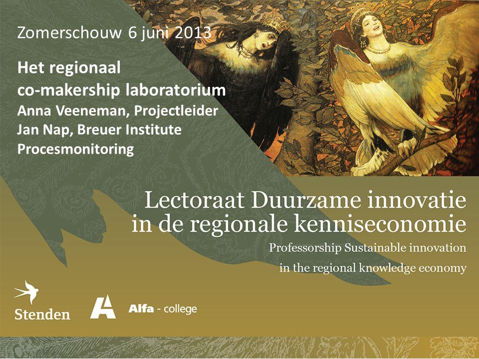 Zomerschouw 6 juni 2013 Het regionaal co-makership laboratorium Anna Veeneman, Projectleider Jan Nap, Breuer Institute Procesmonitoring