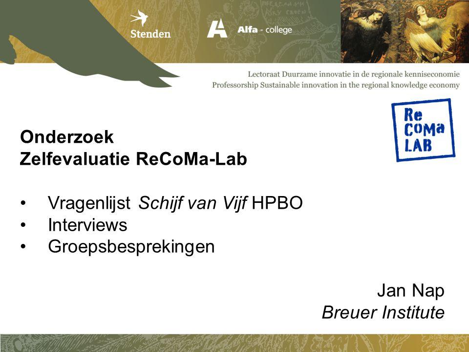 Onderzoek Zelfevaluatie ReCoMa-Lab Vragenlijst Schijf van Vijf HPBO Interviews Groepsbesprekingen Jan Nap Breuer Institute