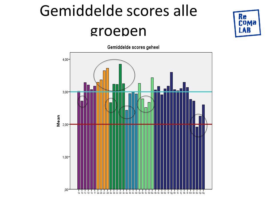 Gemiddelde scores alle groepen