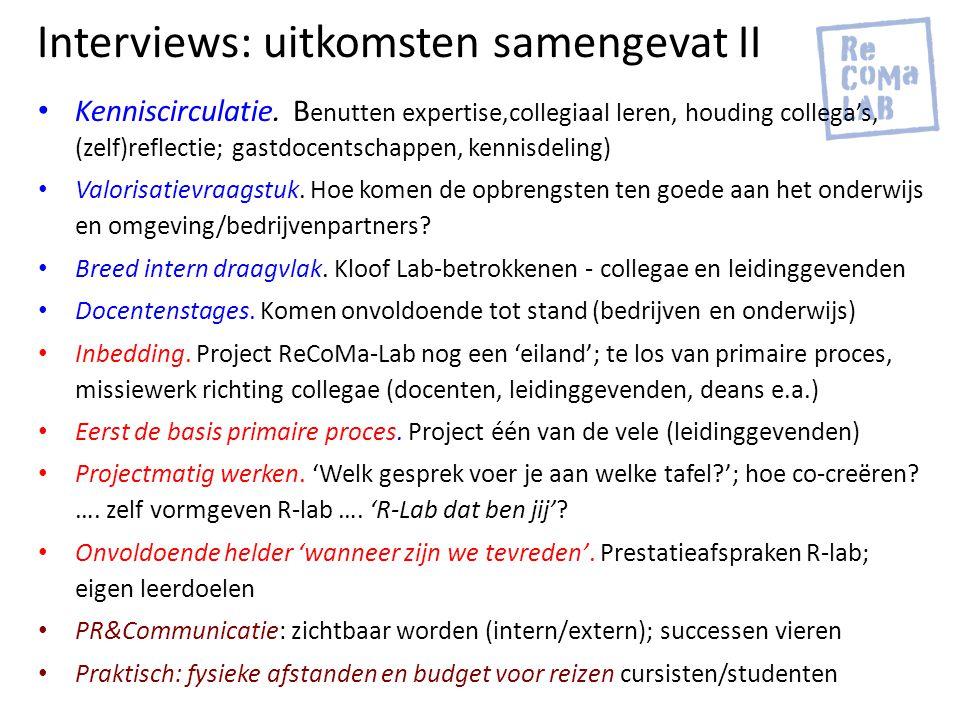 Interviews: uitkomsten samengevat II Kenniscirculatie. B enutten expertise,collegiaal leren, houding collega's, (zelf)reflectie; gastdocentschappen, k