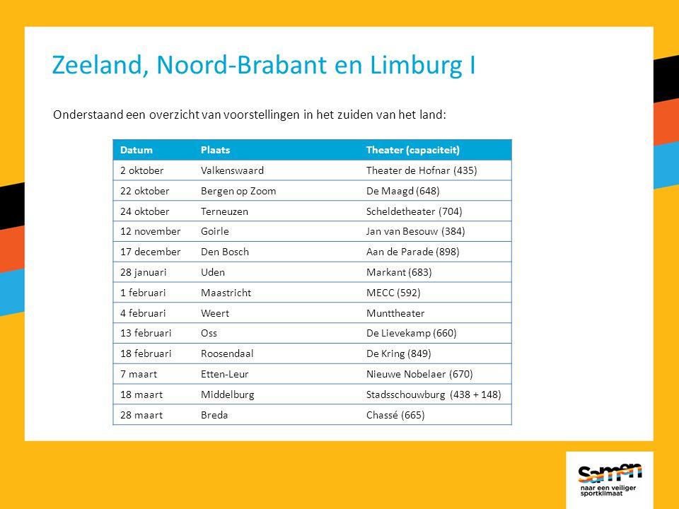 Zeeland, Noord-Brabant en Limburg I Onderstaand een overzicht van voorstellingen in het zuiden van het land: DatumPlaatsTheater (capaciteit) 2 oktoberValkenswaardTheater de Hofnar (435) 22 oktoberBergen op ZoomDe Maagd (648) 24 oktoberTerneuzenScheldetheater (704) 12 novemberGoirleJan van Besouw (384) 17 decemberDen BoschAan de Parade (898) 28 januariUdenMarkant (683) 1 februariMaastrichtMECC (592) 4 februariWeertMunttheater 13 februariOssDe Lievekamp (660) 18 februariRoosendaalDe Kring (849) 7 maartEtten-LeurNieuwe Nobelaer (670) 18 maartMiddelburgStadsschouwburg (438 + 148) 28 maartBredaChassé (665)
