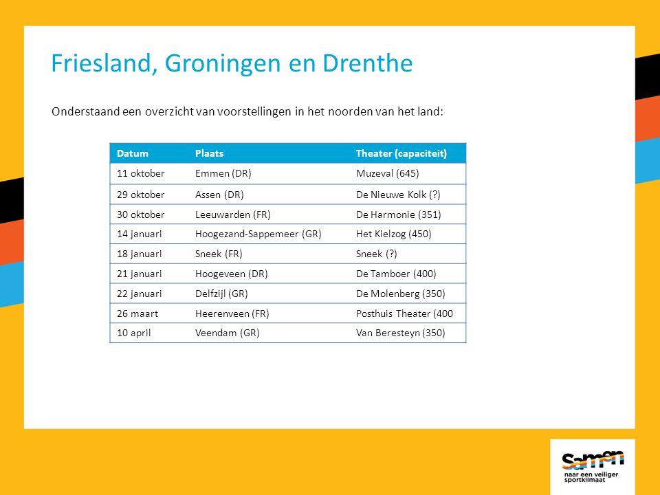 Friesland, Groningen en Drenthe Onderstaand een overzicht van voorstellingen in het noorden van het land: DatumPlaatsTheater (capaciteit) 11 oktoberEmmen (DR)Muzeval (645) 29 oktoberAssen (DR)De Nieuwe Kolk ( ) 30 oktoberLeeuwarden (FR)De Harmonie (351) 14 januariHoogezand-Sappemeer (GR)Het Kielzog (450) 18 januariSneek (FR)Sneek ( ) 21 januariHoogeveen (DR)De Tamboer (400) 22 januariDelfzijl (GR)De Molenberg (350) 26 maartHeerenveen (FR)Posthuis Theater (400 10 aprilVeendam (GR)Van Beresteyn (350)