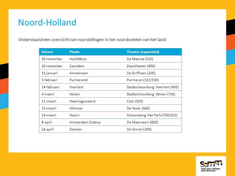 Noord-Holland Onderstaand een overzicht van voorstellingen in het noordwesten van het land: DatumPlaatsTheater (capaciteit) 19 novemberHoofddorpDe Meerse (520) 26 novemberZaandamZaantheater (890) 15 januariAmstelveenDe Griffioen (200) 5 februariPurmerendPurmaryn (321/530) 14 februariHaarlemStadsschouwburg Haarlem (450) 4 maartVelsenStadsschouwburg Velsen (716) 11 maartHeerhugowaardCool (550) 13 maartAlkmaarDe Veste (660) 14 maartHoornSchouwburg Het Park (700/922) 8 aprilAmsterdam OsdorpDe Meervaart (800) 24 aprilDiemenDe Omval (200)