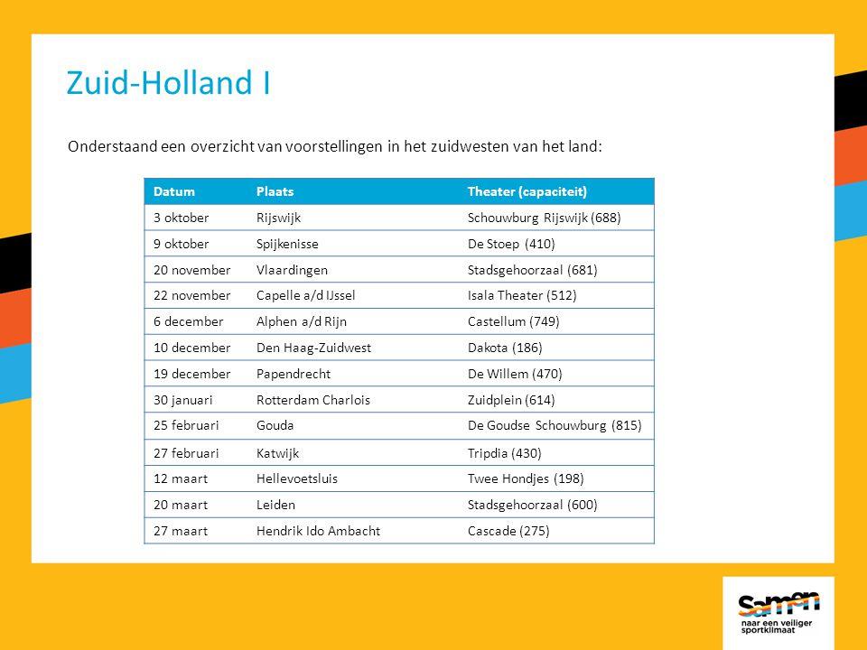 Zuid-Holland I Onderstaand een overzicht van voorstellingen in het zuidwesten van het land: DatumPlaatsTheater (capaciteit) 3 oktoberRijswijkSchouwburg Rijswijk (688) 9 oktoberSpijkenisseDe Stoep (410) 20 novemberVlaardingenStadsgehoorzaal (681) 22 novemberCapelle a/d IJsselIsala Theater (512) 6 decemberAlphen a/d RijnCastellum (749) 10 decemberDen Haag-ZuidwestDakota (186) 19 decemberPapendrechtDe Willem (470) 30 januariRotterdam CharloisZuidplein (614) 25 februariGoudaDe Goudse Schouwburg (815) 27 februariKatwijkTripdia (430) 12 maartHellevoetsluisTwee Hondjes (198) 20 maartLeidenStadsgehoorzaal (600) 27 maartHendrik Ido AmbachtCascade (275)
