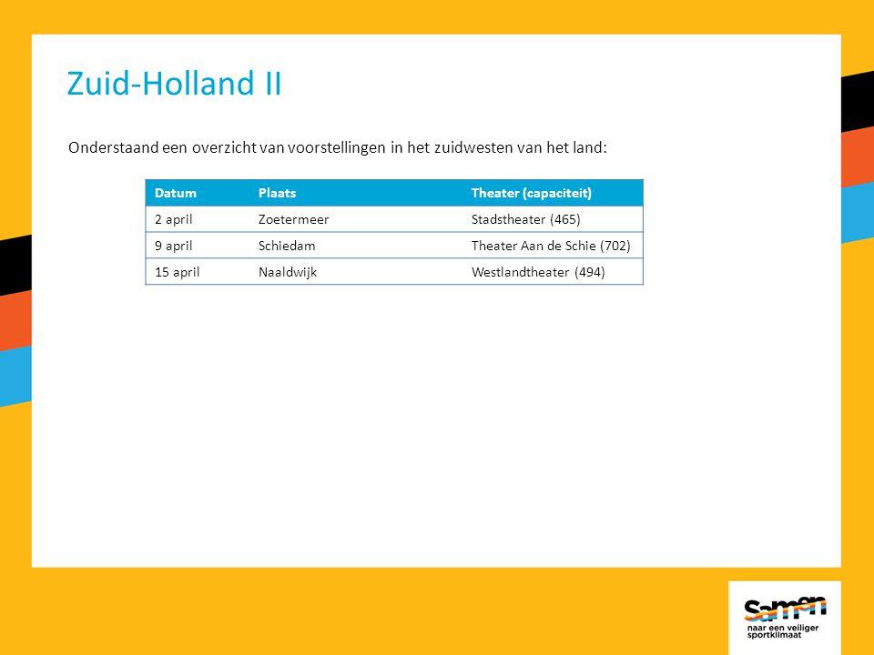Zuid-Holland II Onderstaand een overzicht van voorstellingen in het zuidwesten van het land: DatumPlaatsTheater (capaciteit) 2 aprilZoetermeerStadstheater (465) 9 aprilSchiedamTheater Aan de Schie (702) 15 aprilNaaldwijkWestlandtheater (494)