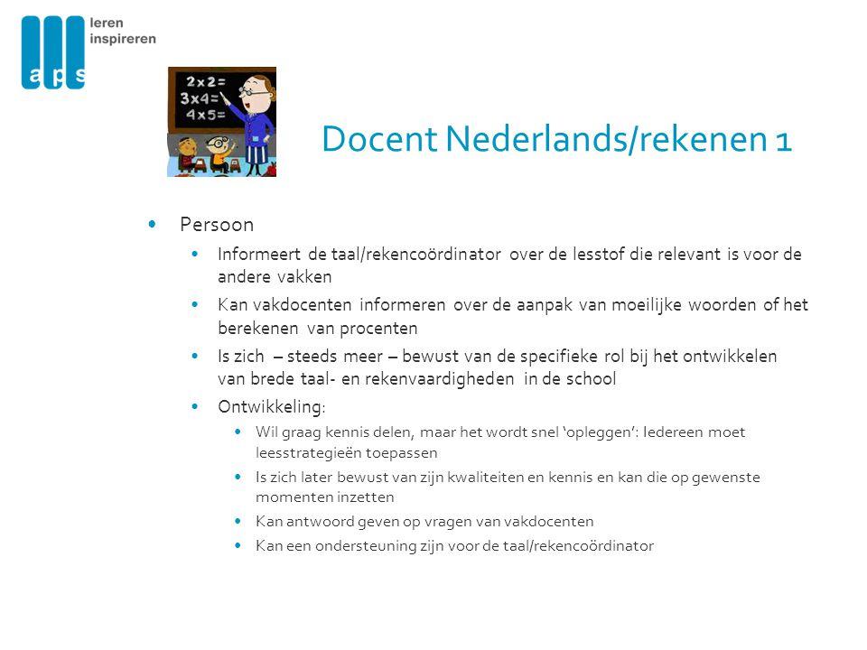 Docent Nederlands/rekenen 1 Persoon Informeert de taal/rekencoördinator over de lesstof die relevant is voor de andere vakken Kan vakdocenten informer