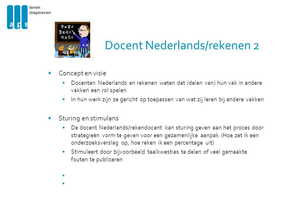 Docent Nederlands/rekenen 2 Concept en visie Docenten Nederlands en rekenen weten dat (delen van) hun vak in andere vakken een rol spelen In hun werk