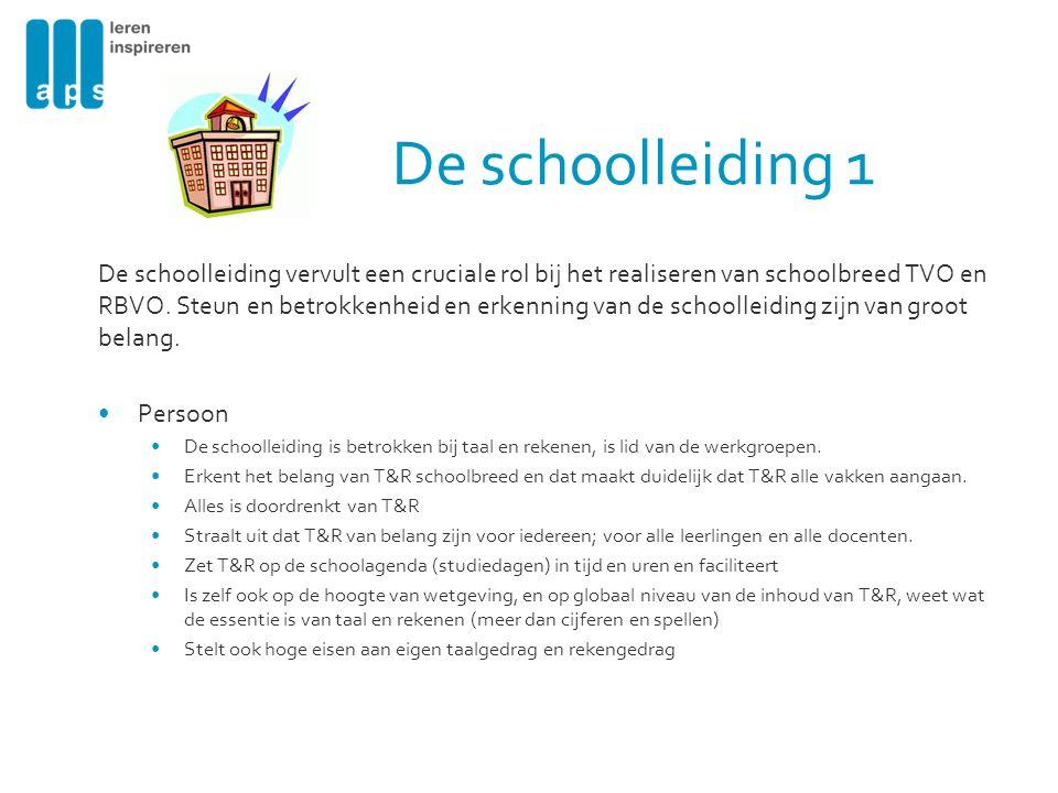De schoolleiding 1 De schoolleiding vervult een cruciale rol bij het realiseren van schoolbreed TVO en RBVO. Steun en betrokkenheid en erkenning van d