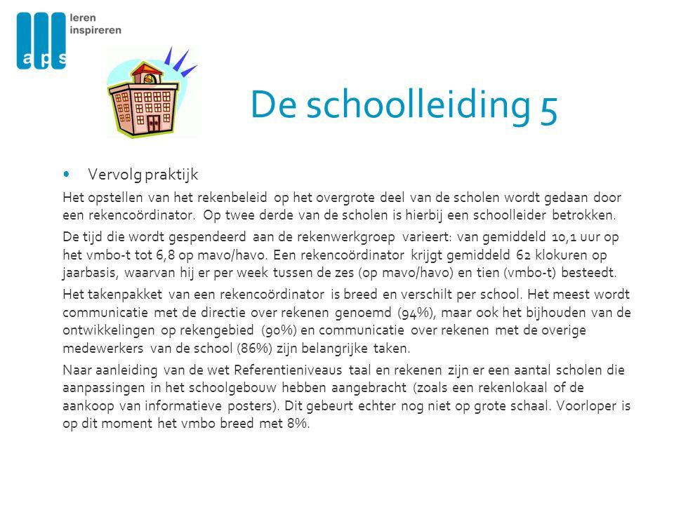 De schoolleiding 5 Vervolg praktijk Het opstellen van het rekenbeleid op het overgrote deel van de scholen wordt gedaan door een rekencoördinator. Op