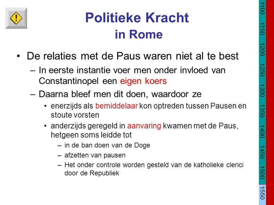 Politieke Kracht in Rome De relaties met de Paus waren niet al te best –In eerste instantie voer men onder invloed van Constantinopel een eigen koers