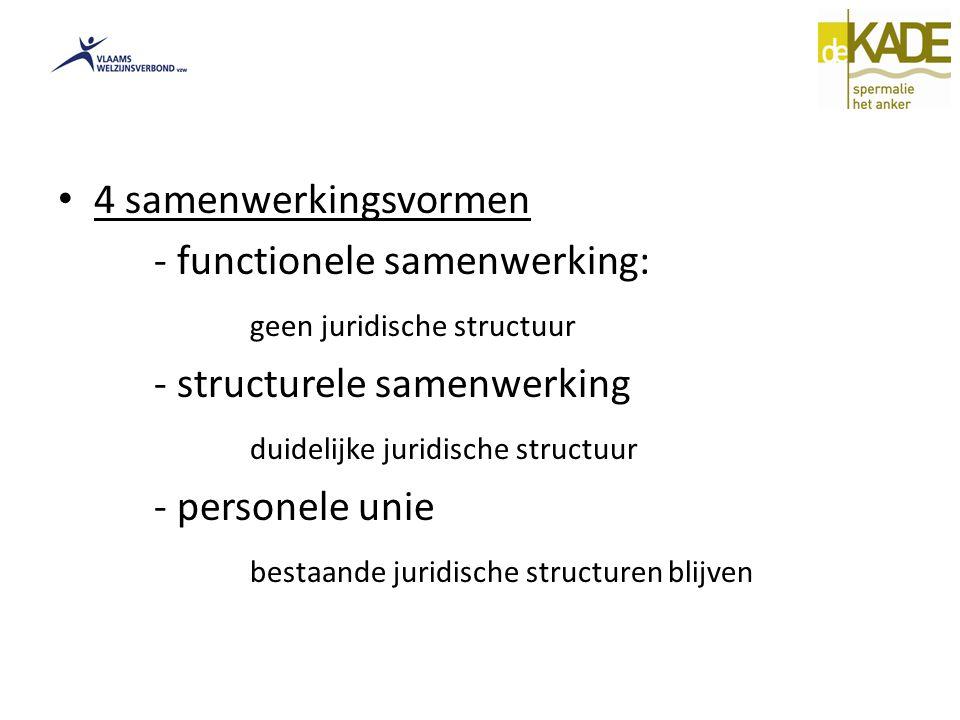 4 samenwerkingsvormen - functionele samenwerking: geen juridische structuur - structurele samenwerking duidelijke juridische structuur - personele unie bestaande juridische structuren blijven