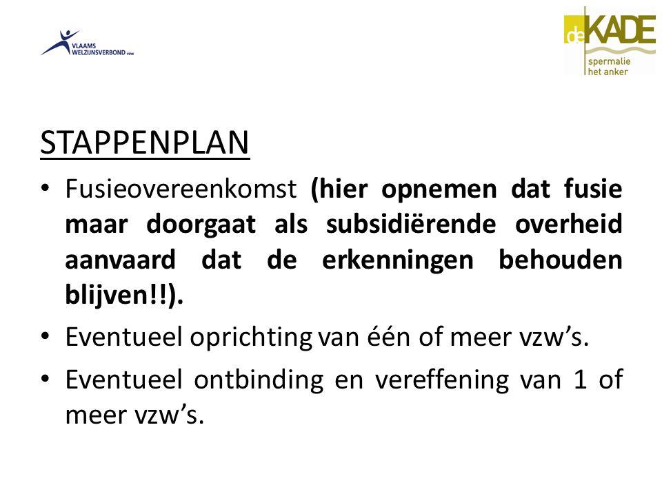 STAPPENPLAN Fusieovereenkomst (hier opnemen dat fusie maar doorgaat als subsidiërende overheid aanvaard dat de erkenningen behouden blijven!!).