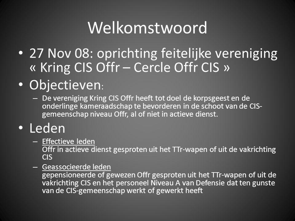 Welkomstwoord 27 Nov 08: oprichting feitelijke vereniging « Kring CIS Offr – Cercle Offr CIS » Objectieven : – De vereniging Kring CIS Offr heeft tot