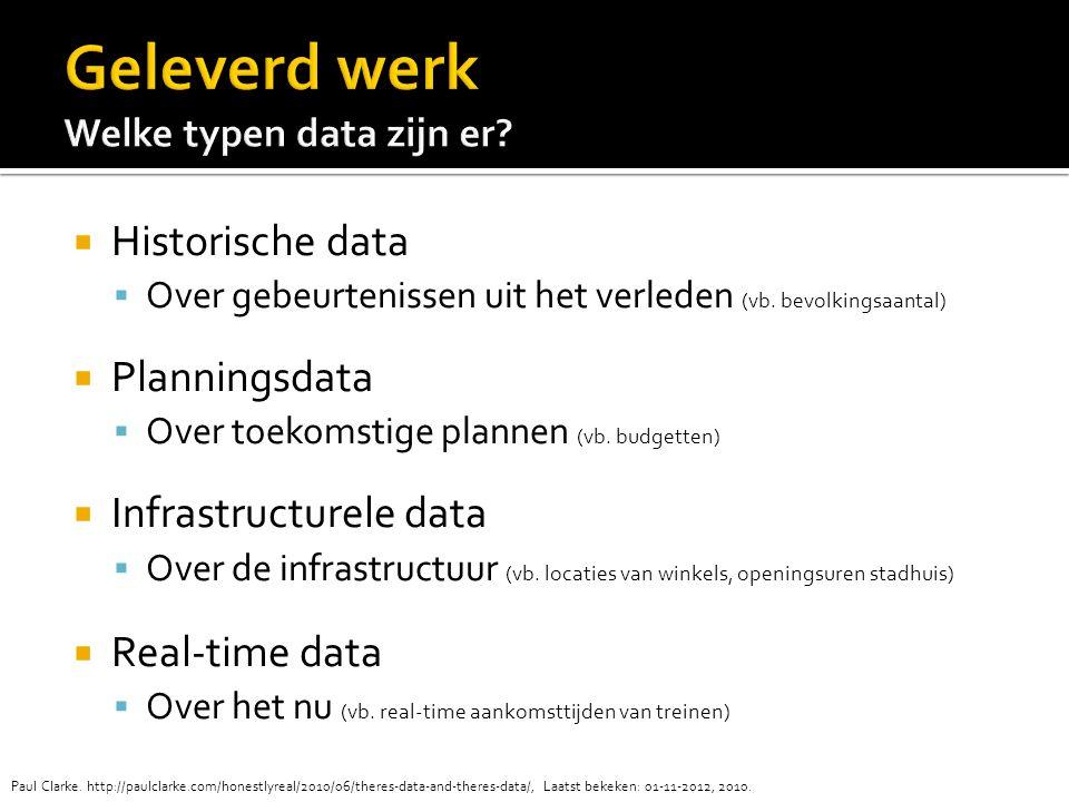  Historische data  Over gebeurtenissen uit het verleden (vb.