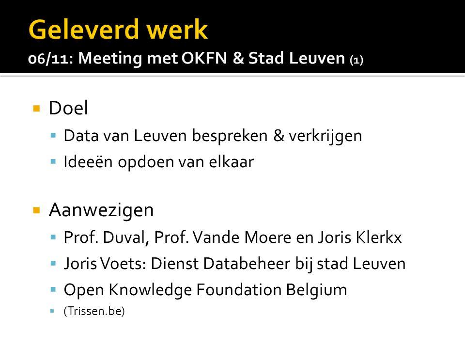  Doel  Data van Leuven bespreken & verkrijgen  Ideeën opdoen van elkaar  Aanwezigen  Prof.