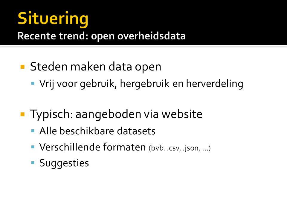  Steden maken data open  Vrij voor gebruik, hergebruik en herverdeling  Typisch: aangeboden via website  Alle beschikbare datasets  Verschillende formaten (bvb..csv,.json, …)  Suggesties