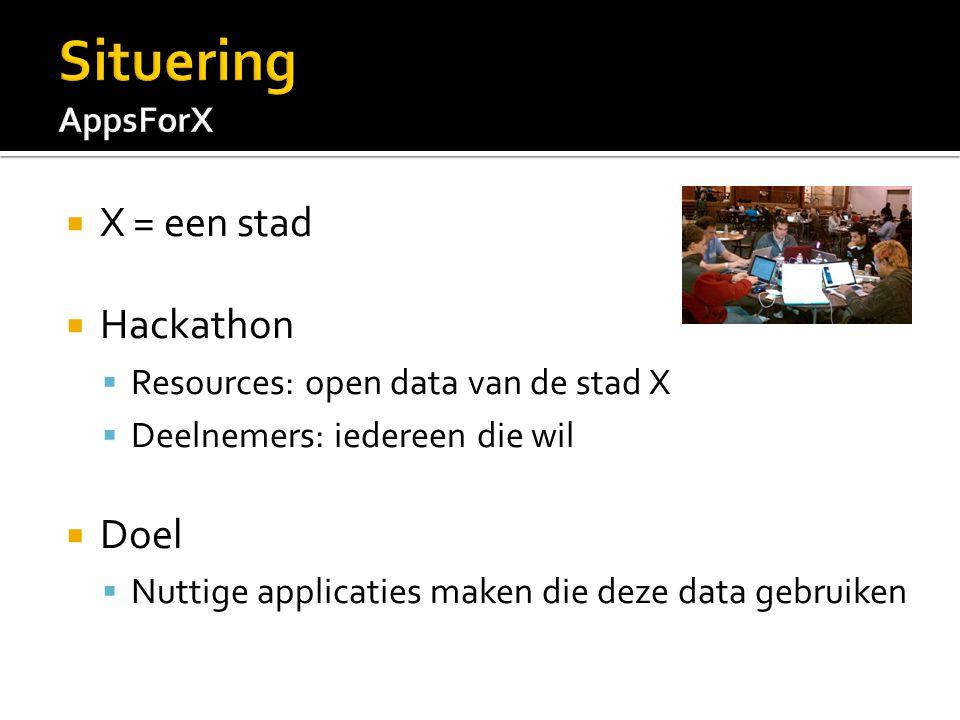  X = een stad  Hackathon  Resources: open data van de stad X  Deelnemers: iedereen die wil  Doel  Nuttige applicaties maken die deze data gebruiken