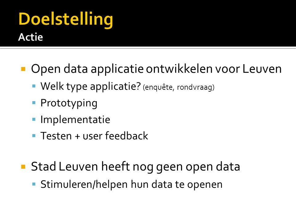  Open data applicatie ontwikkelen voor Leuven  Welk type applicatie.