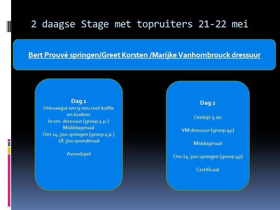 2 daagse Stage met topruiters 21-22 mei Bert Prouvé springen/Greet Korsten /Marijke Vanhombrouck dressuur Dag 1 Ontvangst om 9.00u met koffie en koeken In vm dressuur (groep 4 p.) Midddagmaal Om 14.30u springen (groep 4 p.) 18.30u avondmaal Avondspel Dag 2 Ontbijt 9.00 VM dressuur (groep 4p) Middagmaal Om 14.30u springen (groep 4p) Certificaat