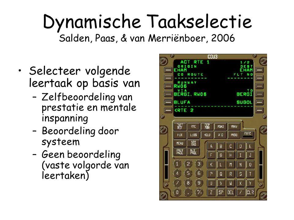 Dynamische Taakselectie Salden, Paas, & van Merriënboer, 2006 Selecteer volgende leertaak op basis van –Zelfbeoordeling van prestatie en mentale inspa