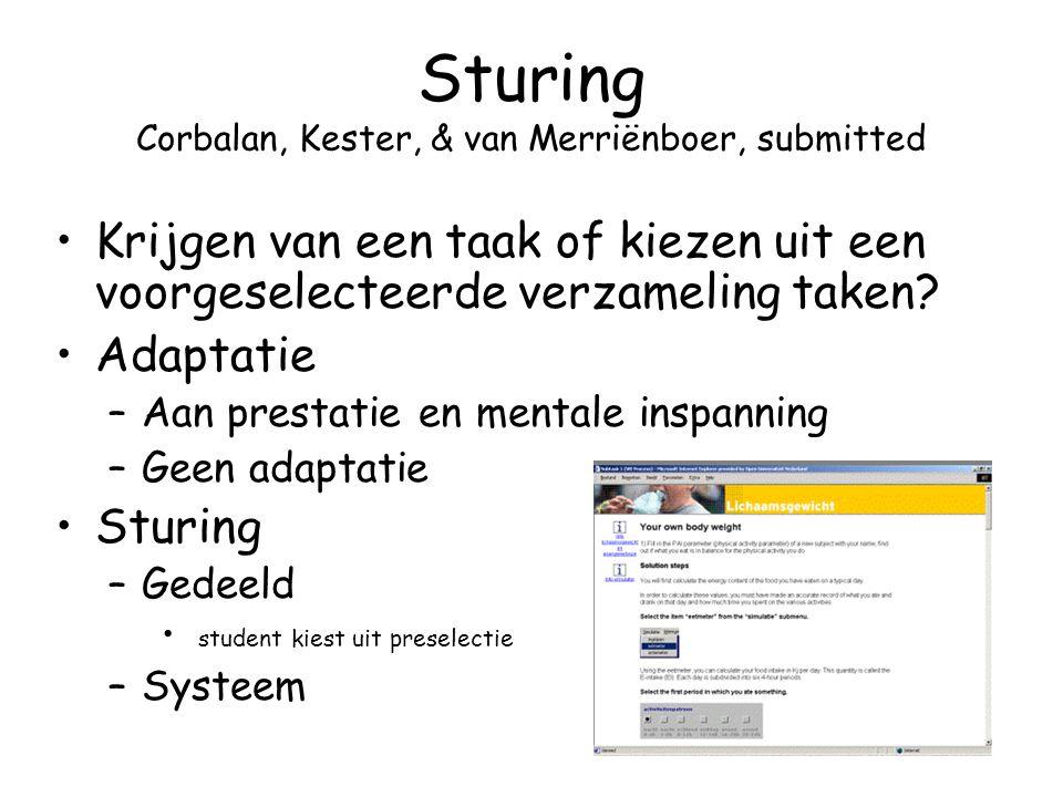 Sturing Corbalan, Kester, & van Merriënboer, submitted Krijgen van een taak of kiezen uit een voorgeselecteerde verzameling taken? Adaptatie –Aan pres
