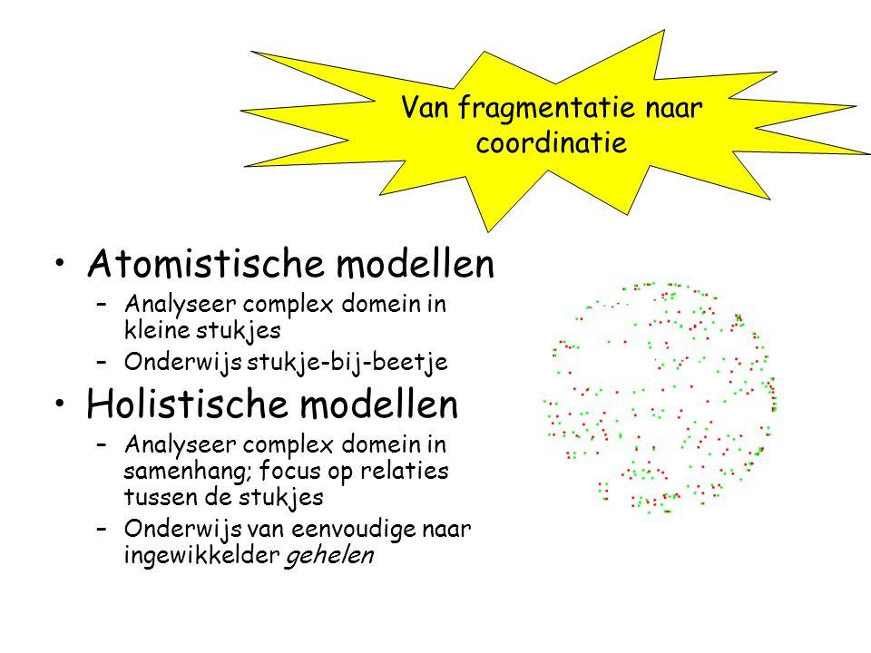 Atomistische modellen –Analyseer complex domein in kleine stukjes –Onderwijs stukje-bij-beetje Holistische modellen –Analyseer complex domein in samen