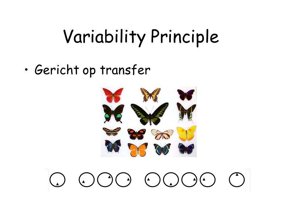 Variability Principle Gericht op transfer
