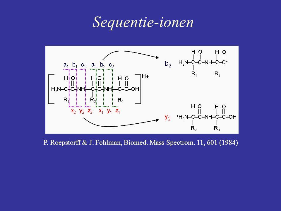 Sequentie-ionen P. Roepstorff & J. Fohlman, Biomed. Mass Spectrom. 11, 601 (1984)
