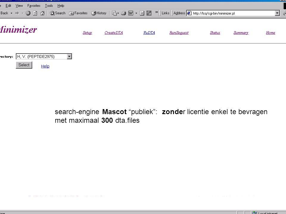 search-engine Mascot publiek : zonder licentie enkel te bevragen met maximaal 300 dta.files