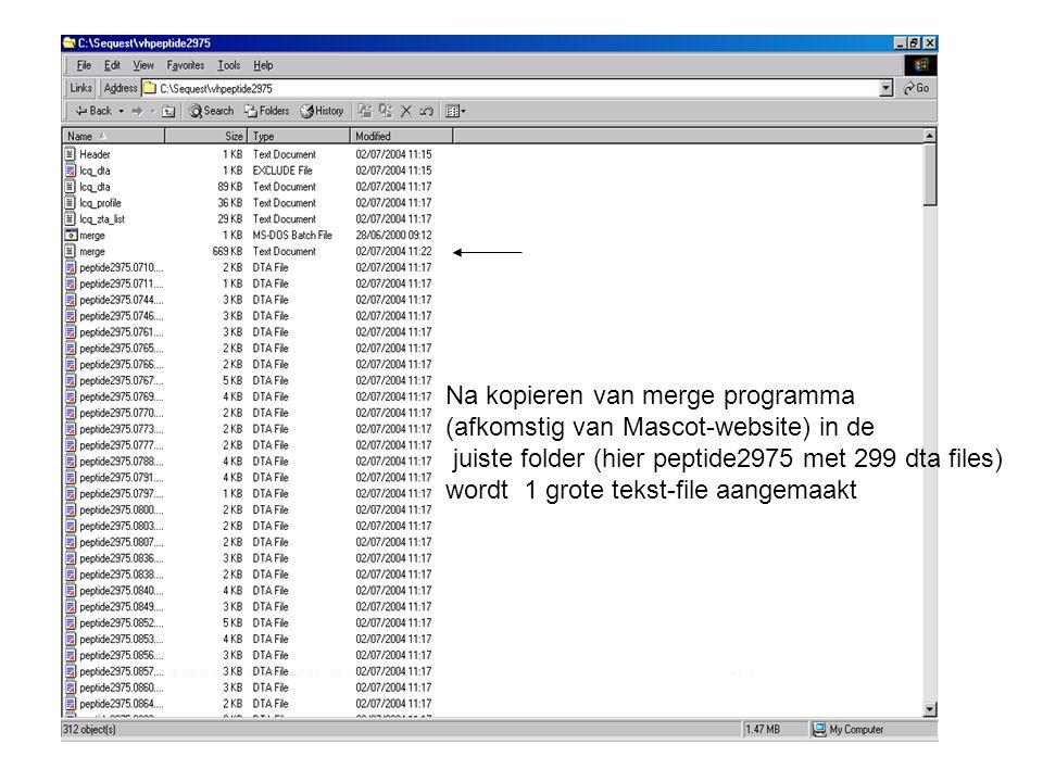 Na kopieren van merge programma (afkomstig van Mascot-website) in de juiste folder (hier peptide2975 met 299 dta files) wordt 1 grote tekst-file aangemaakt