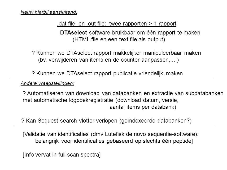 .dat file en.out file: twee rapporten-> 1 rapport DTAselect software bruikbaar om één rapport te maken (HTML file en een text file als output) .