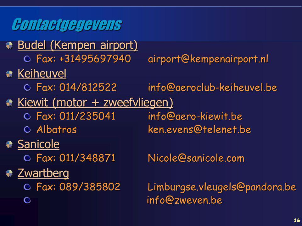 16 Contactgegevens Budel (Kempen airport) Fax: +31495697940 airport@kempenairport.nl Keiheuvel Fax: 014/812522 info@aeroclub-keiheuvel.be Kiewit (moto