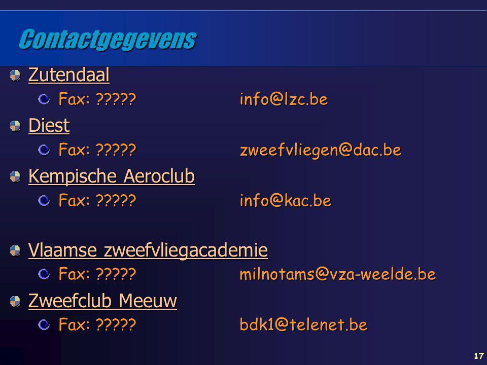 17 Contactgegevens Zutendaal Fax: ????? info@lzc.be Diest Fax: ????? zweefvliegen@dac.be Kempische Aeroclub Fax: ????? info@kac.be Vlaamse zweefvliega