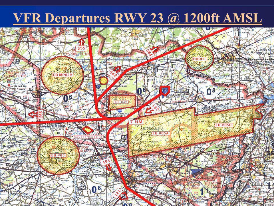 6 VFR Departures RWY 23 @ 1200ft AMSL
