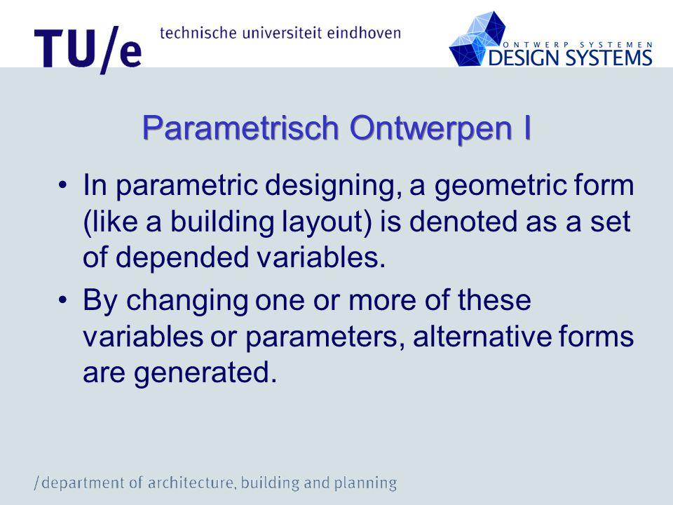 Parametrisch Ontwerpen II a Bouwkundige componenten Parameters (h, l, b, …) Gedrag