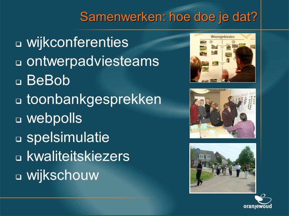 Samenwerken: hoe doe je dat?   wijkconferenties   ontwerpadviesteams   BeBob   toonbankgesprekken   webpolls   spelsimulatie   kwaliteit