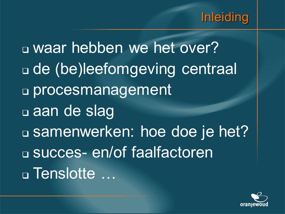 Inleiding   waar hebben we het over?   de (be)leefomgeving centraal   procesmanagement   aan de slag   samenwerken: hoe doe je het?   succ