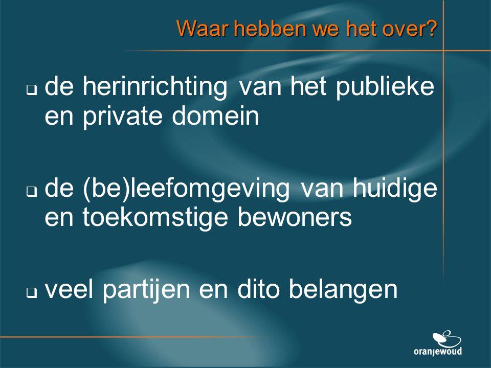 Waar hebben we het over?   de herinrichting van het publieke en private domein   de (be)leefomgeving van huidige en toekomstige bewoners   veel