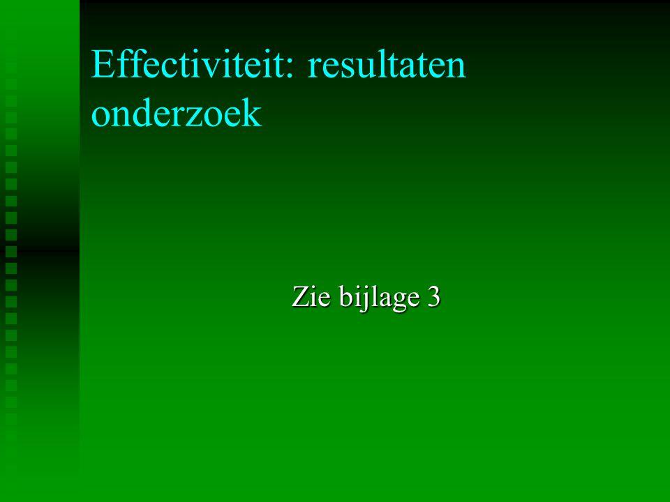 Effectiviteit: resultaten onderzoek Zie bijlage 3